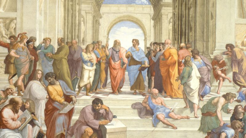 """Ausschnitt aus Raffaels Fresko """"Die Schule von Athen"""" im Apostolischen Palast"""