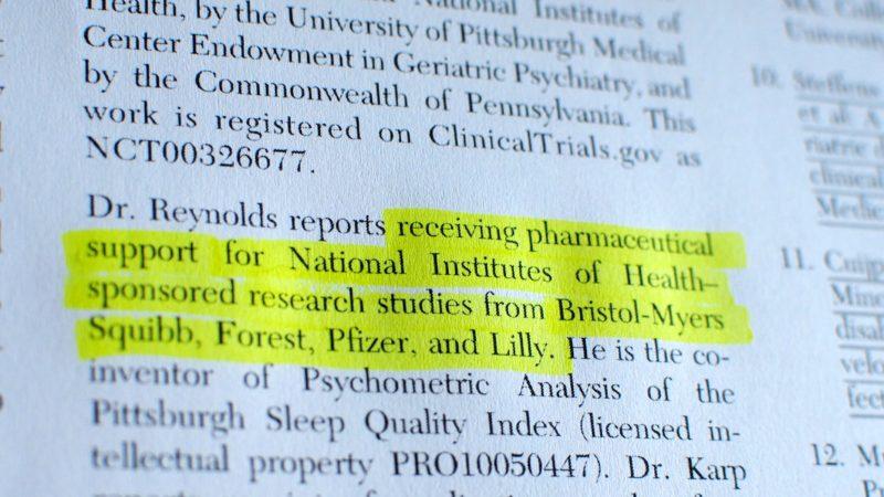 Interessenkonflikt-Statement in wissenschaftlichem Paper