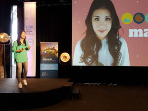 Mai Thi Nguyen-Kim bei ihrer Eröffnungskeynote zum Webvideo-Hackathon. Foto: Melanie Preu / WiD